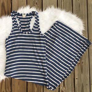 J Crew Stripe Razorback Side Slit Maxi Dress